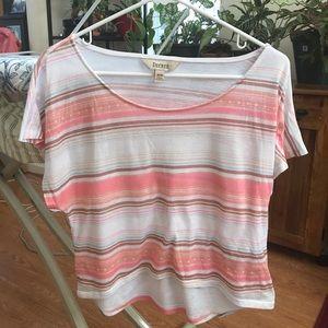 Pink/white striped crop top tee